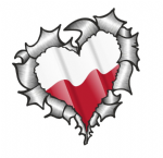 Ripped Torn Metal Heart with Waving Poland Polish Country Flag Motif External Car Sticker 105x100mm